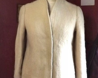 Vintage Ladies Small Cream Dress Coat Fuzzy Wool , Satisfashions of Rochester, NY