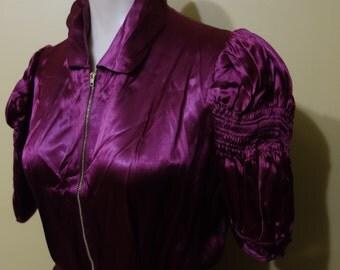 Medium 28 Waist 1940s Vintage Raspberry Red Satin Front Zip Gown Nightgown with Belt Burlesque Rockabilly Pin Up Viva Las Vegas