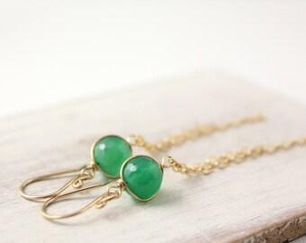 Green Onyx with Gold Tassle Earrings