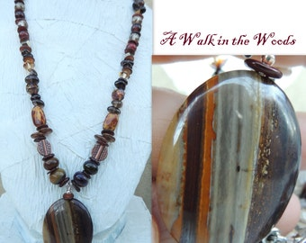 A Walk in the Woods Handmade Bead Necklace with Mixed Stones