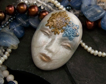 Pearl Snowflake Lady Clay Goddess Lady Face Cab Hand Painted Polymer Clay Cabochon