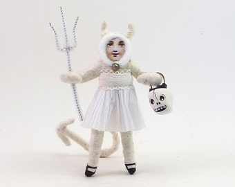 Vintage Style Spun Cotton White She Devil Halloween Figure/Ornament