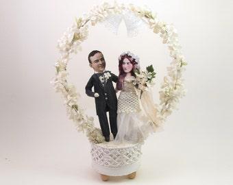 Vintage Style Spun Cotton Wedding Bells Wedding Cake Topper OOAK
