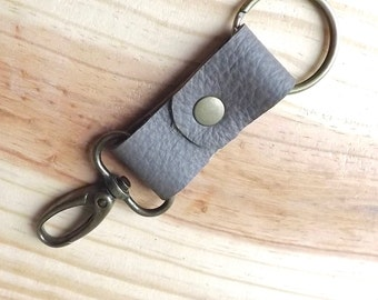 Grey Leather Key Fob - Leather Keychain - Mens Accessory - Antiqued Brass Swivel Snaphook and Split Keyring - #EtsyGifts