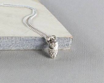 Sterling Silver Tiny Owl Necklace