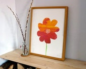 Sunset Flower mono Screen print - yellow, orange, 40x50cm