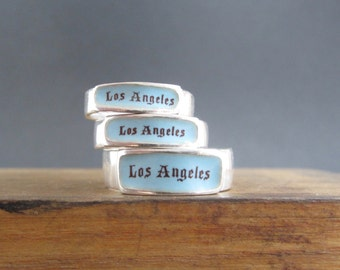 Los Angeles Band Ring - Sterling Silver and Vitreous Enamel Los Angeles Ring