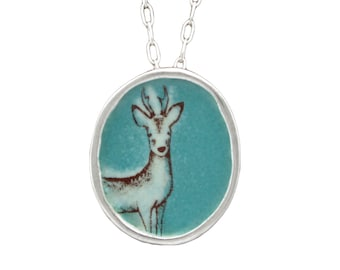 Deer Necklace - Sterling Silver and Vitreous Enamel Stag Pendant - White Buck Necklace