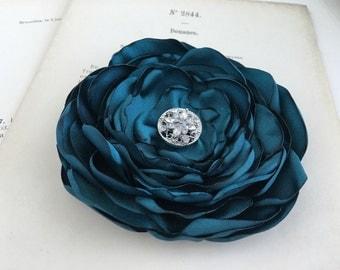 Teal Flower Hair Clip.Bridesmaid.Headpiece.brooch.pin.satin flower.wedding.fascinator.bridal.customize.flower girl.hair piece.hair accessory