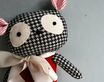 Panda Bear Plushie in Red Velveteen and Houndstooth Black and White Wool