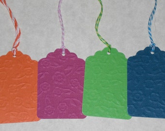 12 Bright Floral Embossed Card Stock Hang Tags Price Vendor Tags Embellishments Party Gifts and More