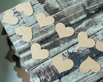 Wedding Garland . Heart Paper Garland . Rustic Bridal Shower Decorations . Rustic Wedding Decor . Fall Wedding Decor . Wedding Table Runner