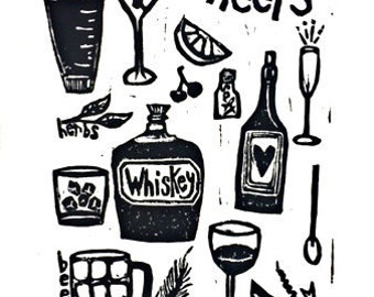 "cheers - linoleum block print - 9""x12"" wall art"