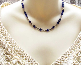 Sterling Silver Wire Wrapped Glass Blue Bead Choker Necklace One of a Kind Necklace