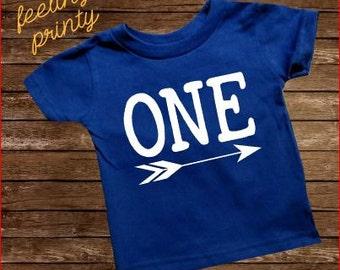 Royal Blue First Birthday Baby Shirt One Birthday Shirt One Arrow Girls Boys Birthday Shirt