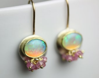 Solid Opal Earrings 18k Gold and Silver. October Birthstone .
