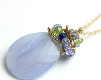 Blue Lace Agate Necklace. Lapis Peridot Tanzanite Accents.
