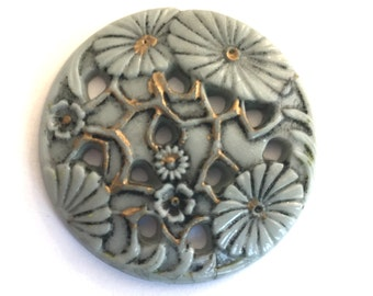 Rare Vintage stone (1) glass gray grey carved Large round floral design deco art nouveau flatback  pendant bead 36mm (1)