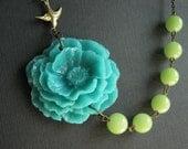 Turquoise Poppy Flower Necklace,Turquoise Flower Necklace,Turquoise Necklace,Flower Necklace,Poppy Necklace,Lime Green Necklace,Bib Necklace