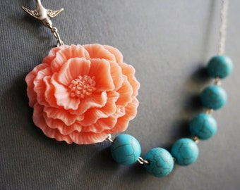 Statement Necklace,Turquoise Necklace,Coral Necklace,Coral Jewelry,Turquoise Jewelry,Coral Flower Necklace,Poppy Necklace,Bridesmaid Gift