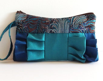 Peacock Brocade Teal Satin Ruffled Clutch