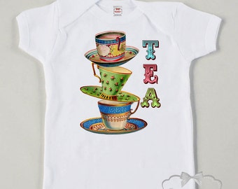 Tea Party Shirt - Afternoon Tea Shirt - Birthday Tea Party - Girl Tea Party - Toddler Tea Cup Party - Vintage Tea Party - Girl Birthday Tea