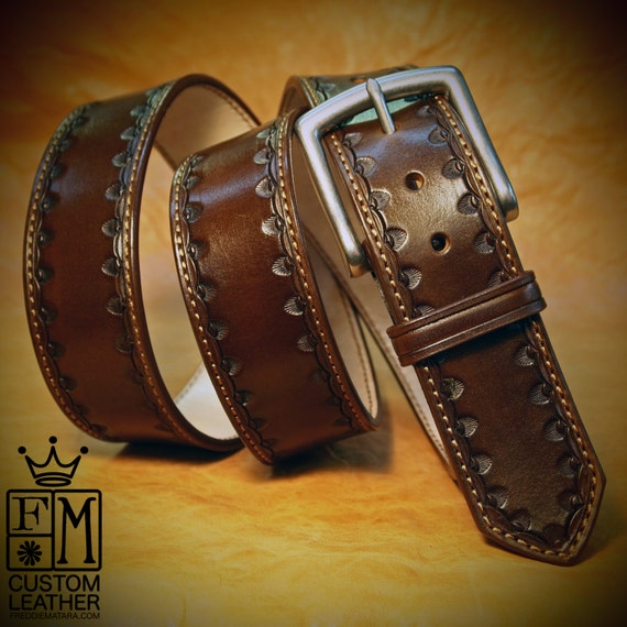 Brown Leather Dress Belt Custom Made Hand stamped vintage look handmade for YOU in New York City by Freddie Matara