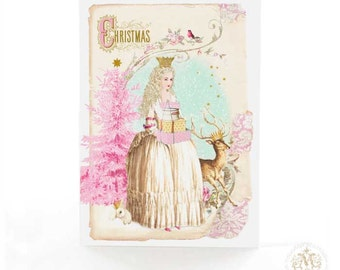 Christmas card, Marie Antoinette as the Snow Queen, winter woodland, pink Christmas tree with deer