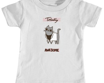 Funny Baby Gift Cute Baby Shirt Totally Awesome 80s Miami Vice Cat Infant TShirt Baby Cat TShirt