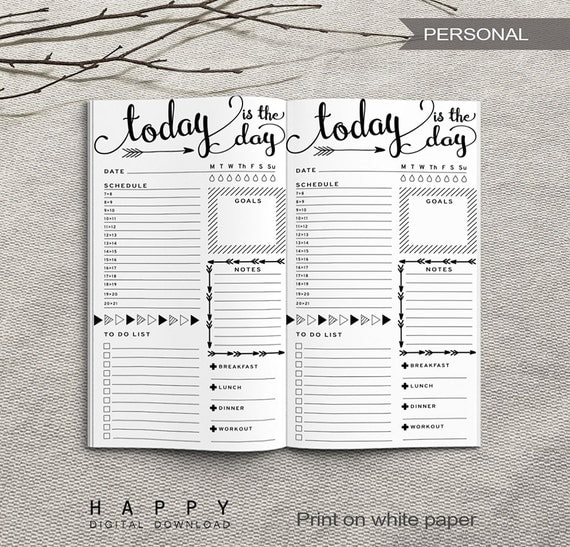 Printable Daily Planner Inserts Personal Daily Planner