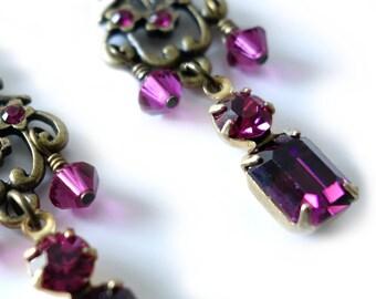 Crystal Rhinestone Earrings, Vintage Style, Fuschia, Amethyst, Hot Pink, Ruby, Purple, Antique Brass, Beaded Jewelry, Long Beaded Earrings