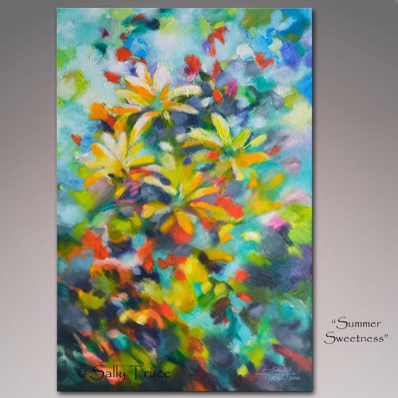 Abstract painting, original painting, acrylic painting, textured painting, impasto painting, floral, gardens