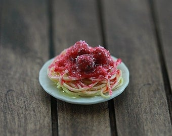 Spaghetti and Meatballs - 1:12 Dollhouse Miniature Scale Plate