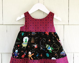 Science Dress  Outer Space Rocket Glow in the Dark Stars Planet Birthday Party Stem Clothing  Nerd Baby Gift Toddler Infant