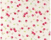 HALF YARD Yuwa - Petite Apples Cherries and Flowers on WHITE - Atsuko Matsuyama 30s collection - Daisies, Flower, Cherry-  Japanese Import