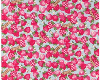 HALF YARD Yuwa - Strawberries on BLUE - Atsuko Matsuyama 30s collection - Pretty, Cute, Sweet Banners -  Daisies, Strawberries -  Japanese