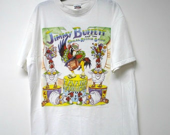Jimmy Buffett and the Coral Reefer Band . 1997 printed white t shirt . size xl