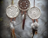 Dream Catcher Necklace, Bohemian, Boho, Handmade, Lace, Crochet, Antique Copper, Feathers, Dark Mocha Brown, Monicaj