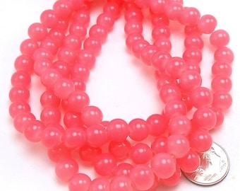 50 Salmon Pink Glass Beads 8mm (H2169)