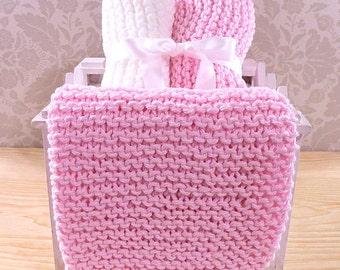 Hand Knitted Dishcloths, Cotton Washcloths, Dish Cloths, Wash Cloths, Handmade towels, Dish Rags  - Pink