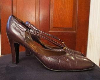Vintage Burgundy Genuine Leather Heels 7 N Made in Spain