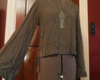 Army Green Bell Sleeves Top Bohemian Gypsy Peasant Blouse Small