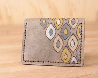 Front Pocket Wallet - Leather Minimalist Wallet in the Pato pattern in Gray and Yellow - Modern - Handmade Leather Wallet for men or women