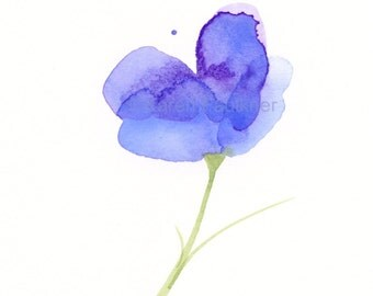"Original watercolor painting of an abstract lavender blue flower: ""Lavender Daydream"""