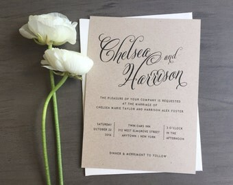 Rustic Calligraphy Wedding Invitation - Kraft Calligraphy Wedding Invitation, Custom Rustic Invite