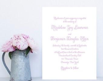 Script Wedding Invitation - Modern Wedding Invitation - Lavendar Wedding Invitation - Purple Wedding Invitation