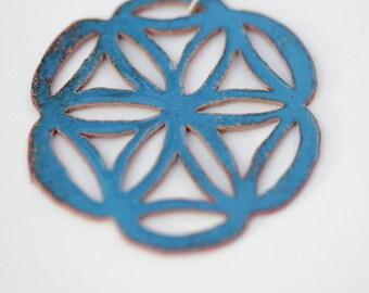 Light Blue Pierced Mandala Enamel Necklace