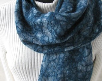 Hand felted wool scarf  teal gray scarf women gifts for her ready to ship handmade  scarves winter scarf accessories winter scarf mom wife