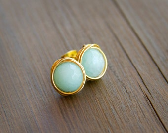 Big and Sweet Minty -Icy Blue Wire Wrapped Stud Earrings - Mint-Blue Earrings in Gold Wire