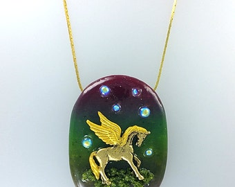 Pegasus Clay Necklace, Flying Horse Jewelry, Pegasus Fantasy Necklace, Elegant Pegasus Jewelry, Pegasus Forest Jewelry, Fairy Tale Necklace